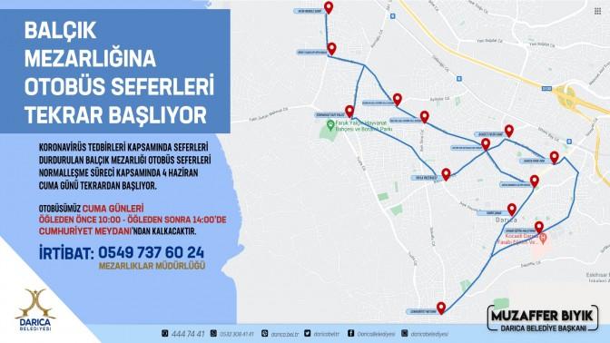 Balçık Mezarlığı'na ücretsiz otobüs seferleri yeniden başladı