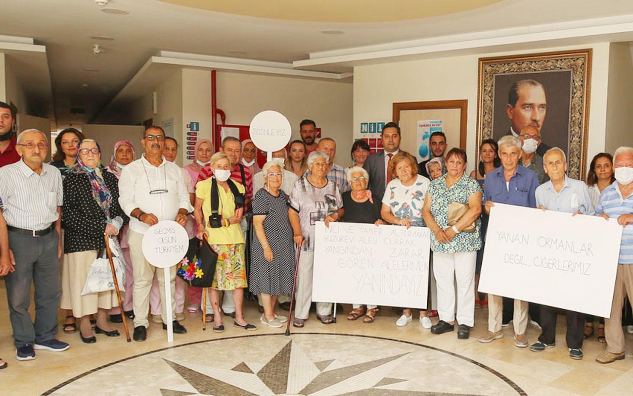 Bursa Nilüfer'deki huzurevinden yangınzedelere anlamlı destek