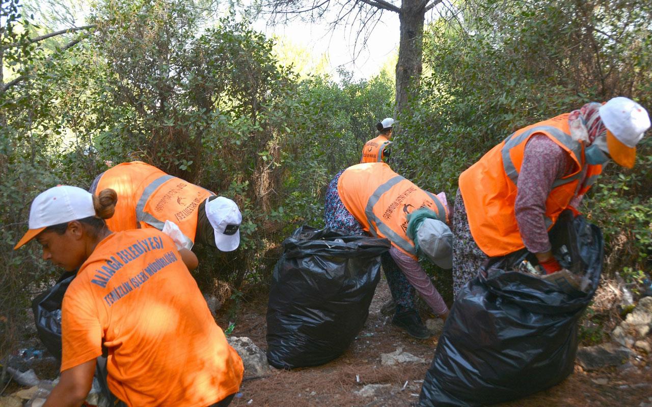 İzmir Aliağa'da ormanlık alanlarda hummalı çalışma